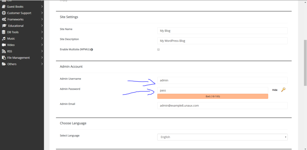 Set username and password for wordpress