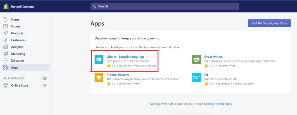 adding apps to dropshipping store