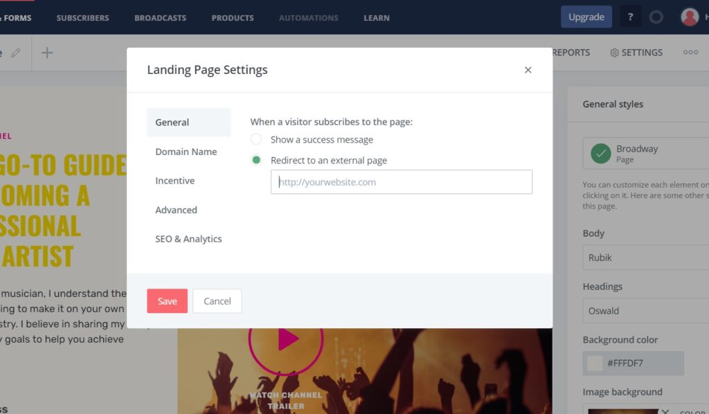 Adding URL to Call to action