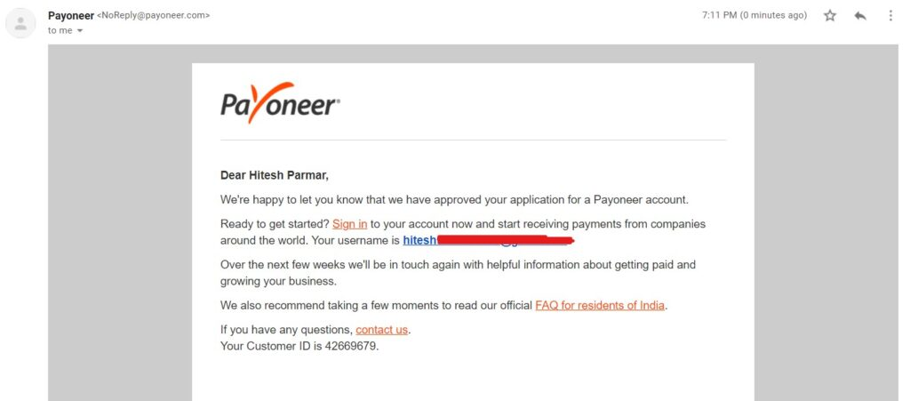Payoneer account approved