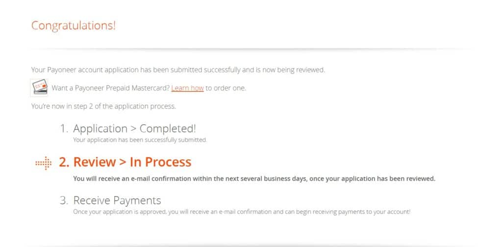 Payoneer account in review